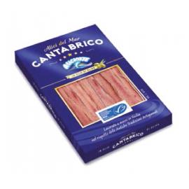 Confezione astucciata filetti distesi acciughe del Cantabrico in olio di oliva 70g